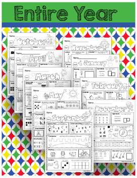 FREE Kindergarten Homework - Seat Work - Entire Year - NO PREP