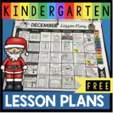 FREE Kindergarten Lesson Plans for December - First Grade