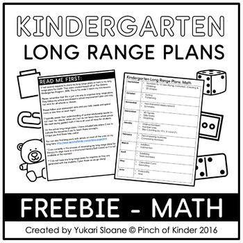 FREE Kindergarten Long Range Plans