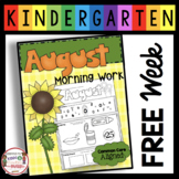 FREE Kindergarten Morning Work - Back to School - August
