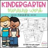 FREE Kindergarten Morning Work Printables