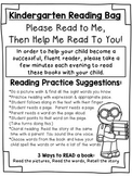 FREE Kindergarten Parent Note for Reading Bags