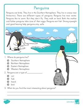 FREE Kindergarten Penguins Reading Passage Comprehension Activity