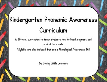 FREE Kindergarten Phonemic Awareness Curriculum SAMPLE