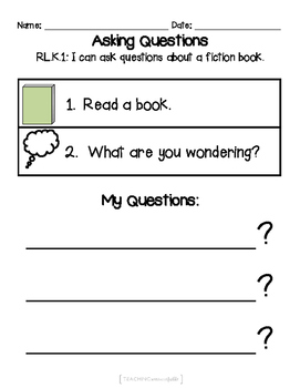 FREE! {Kindergarten:RL.K.1} Ask and Answer Questions about Fiction Books