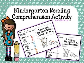 FREE Kindergarten Reading Comprehension Activity Worksheet Handout
