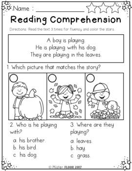 FREE Kindergarten Reading Comprehension(Fall)