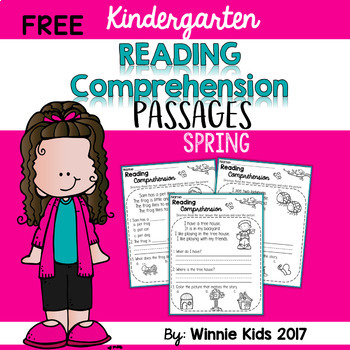 FREE Kindergarten Reading Comprehension Passages - Spring
