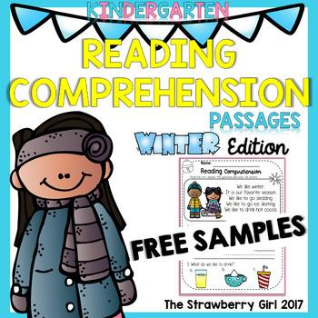 FREE Kindergarten Reading Comprehension Passages - Winter