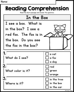 FREE Kindergarten Reading Comprehension Practice Passages