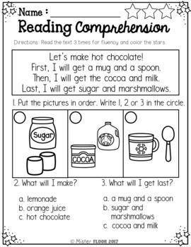 FREE Kindergarten Reading Comprehension (Winter)