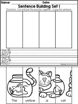 free kindergarten sentence building by teaching biilfizzcend tpt. Black Bedroom Furniture Sets. Home Design Ideas