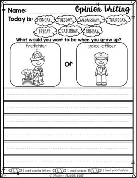 FREE Kindergarten Writing Prompts (October)