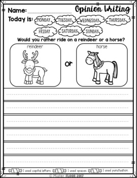 FREE Kindergarten Writing prompts: Opinion Writing & Picture prompts (December)