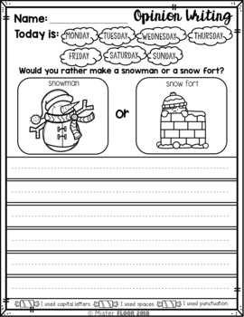 FREE Kindergarten Writing prompts: Opinion Writing & Picture prompts (January)