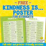 FREE Kindness Is... Acts of Kindness Poster for Students