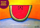 FREE VISUAL ARTS LESSON: Watermelon by Easy Peasy Art School