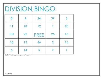 FREE LIMITED TIME: DIVISION BINGO (4TH GRADE UP)