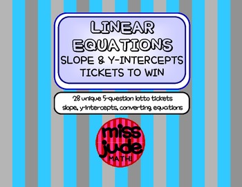 LINEAR EQUATIONS slope & y-intercepts Tickets to Win
