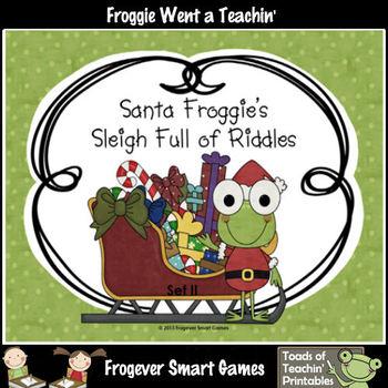 FREE LITERACY CENTER--Santa Froggie's Sleigh Full of Riddles Set II