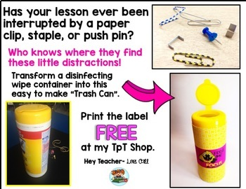 Classroom Management: Distractions {FREE Labels}