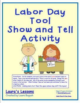 FREE Labor Day Tool Show and Tell Activity PreK K 1st 2nd