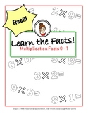 FREE!!!  Learn the Facts! Multiplication Facts: 0-1