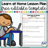 FREE Learning At Home Daily Lesson Plan Template for Dista