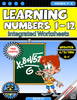 FREE-Learning Numbers 1-12 Integrated Morning Worksheets-FREE SAMPLE