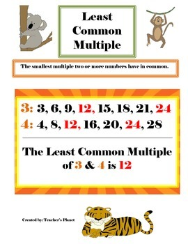 FREE Least Common Multiple Chart!