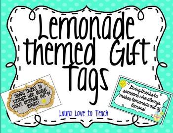 FREE Lemonade Teacher Gift Tags