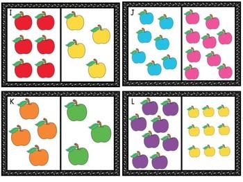 FREE Less Apples Math Center