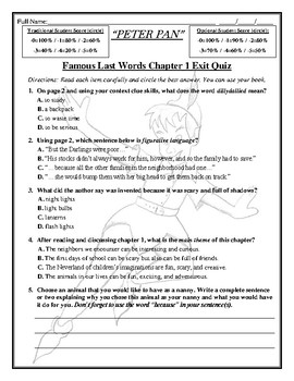 FREE Lesson From My Peter Pan 129 Page Assessment/Activity CCSS Reading Unit