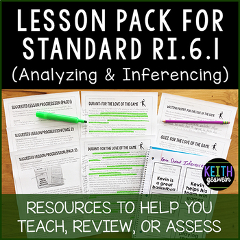 FREE 6th Grade Lesson Pack for RI.6.1 (Analyzing and Inferencing)
