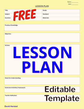 FREE - Lesson Plan Template Editable