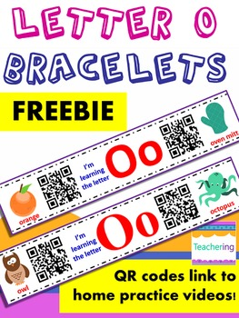 Letter O Homework Bracelets with QR codes {FREE}
