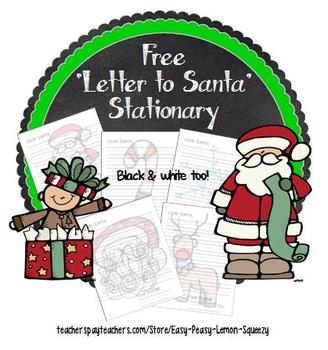 FREE 'Letter to Santa' Stationary- color and black line