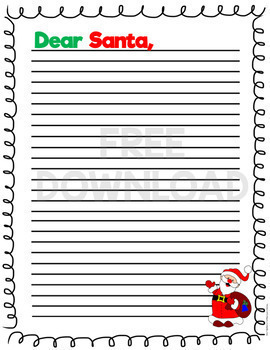 FREE Letter to Santa Writing Paper