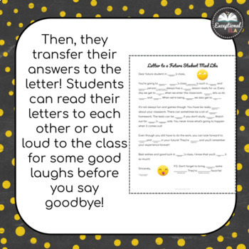 FREE Letter to a Future Student Mad Libs: An End of the Year Activity!