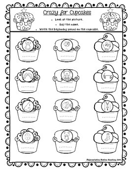 FREE! Letters and Beginning Sounds: Crazy for Cupcakes