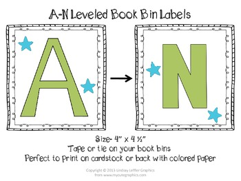 FREE Leveled Book Bin Labels, A-N