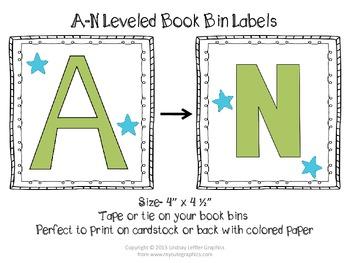FREE Leveled Book Bin Labels, A-N