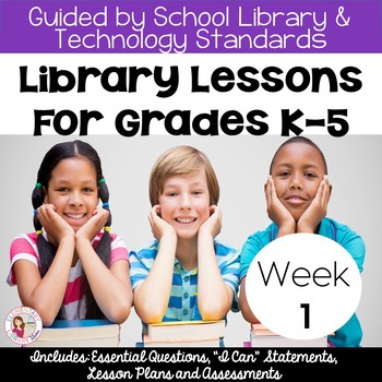 FREE Library Lessons for the First Week of School! (K-5) by Elementary Library Mama