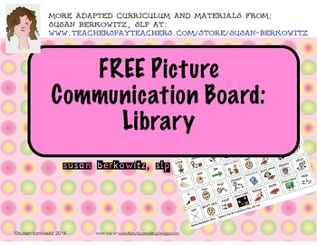 FREE Library Picture Communication Board for AAC Users Autism Special Ed