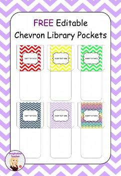 FREE Library Pockets (Chevron)