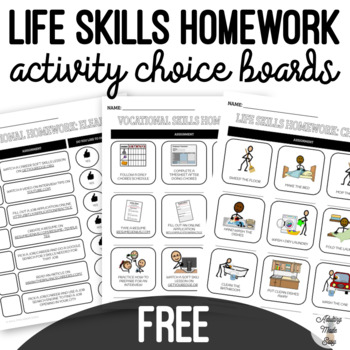 FREE Life Skills Homework Activities Distance Learning