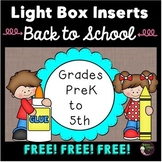 FREE Light Box Inserts Welcome signs for grades Preschool-5th!