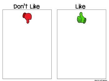 FREE Like vs. Don't Like Activity