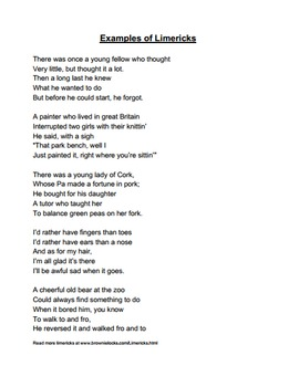 FREE Limerick Poem Writing Instructions Handout For Middle Schoolers