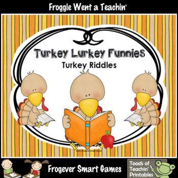 FREE Literacy Center--Turkey Lurkey Funnies (Turkey Riddles)
